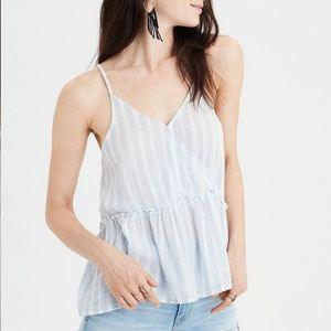 NWT American Eagle Cross Front Strappy Peplum Top